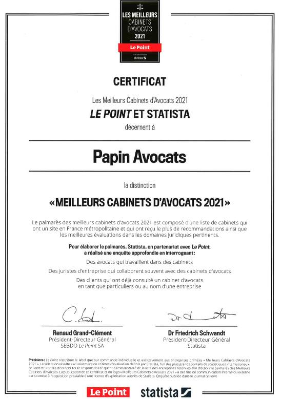 Certificat Le Point Palamares 2021